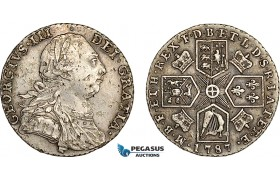 AF024, Great Britain, George III, Shilling 1787, London, Silver, S-3746, Marks, VF-XF