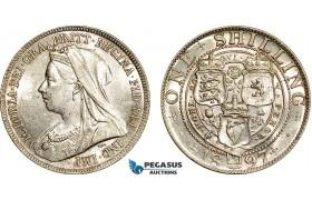AF028, Great Britain, Victoria, Shilling 1897, London, Silver, AU-UNC