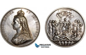 AF030, Great Britain, Victoria, Silver Medal 1887 by Wyon (Ø77mm, 223g) on the Golden Jubilee, Cleaned XF, Tiny edge drill