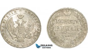 AF243, Russia, Nicholas I, Rouble 1841 СПБ-НГ, St. Petersburg, Silver, Cleaned AU