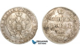 AF244, Russia, Nicholas I, Rouble 1841 СПБ-НГ, St. Petersburg, Silver, VF-XF