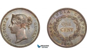 AF253, Straits Settlements, Victoria, 1 Cent 1845, Cleaned AU