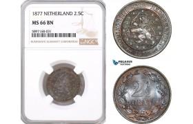AF338, Netherlands, Willem III, 2 1/2 Cents 1877, NGC MS66BN