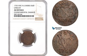 AF340, Netherlands East Indies, VOC, Duit 1755 (Utrecht Arms)  NGC AU Det.