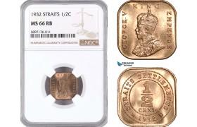 AF356, Straits Settlements, George V, 1/2 Cent 1932, NGC MS66RB