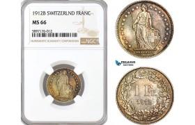 AF357, Switzerland, Franc 1912-B, Bern, Silver, NGC MS66