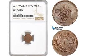 AF359, Ottoman Empire, Turkey, Abdul Mejid, 1 Para 1255/16, NGC MS64BN, Pop 3/0