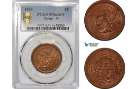 """AF361, United States, Braided Hair 1 Cent 1855 """"Upright 55"""" Philadelphia, PCGS MS63BN"""
