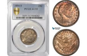 AF363, United States, Barber Quarter (25c) 1894-S, San Francisco, Silver, PCGS AU55