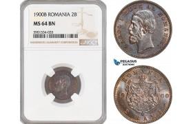 AF449, Romania, Caol I, 2 Bani 1900-B, Bucharest, NGC MS64BN