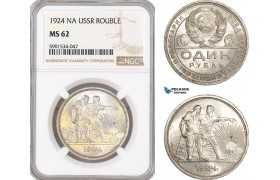 AF455, Russia (USSR) Rouble 1924, Leningrad, Silver, NGC MS62