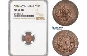 AF458, Ottoman Empire, Turkey, Abdul Mejid, 1 Para 1255/16, NGC MS64BN, Pop 4/0
