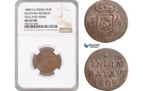 AF469, Netherlands East Indies, Batavian Rep. 1 Duit 1808, Holland Arms, NGC MS62BN
