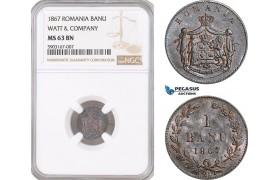 AF471, Romania, Carol I, 1 Banu 1867 Watt&Co, Birmingham, NGC MS63BN