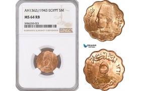 AF667, Egypt, Farouk, 5 Milliemes AH1362 // 1943, NGC MS64RB