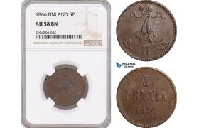 AF669, Finland, Alexander II. of Russia, 5 Penniä 1866, NGC AU58BN