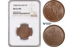 AF670, Finland, Nicholas II. of Russia, 5 Penniä 1908, NGC MS63BN