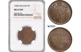 AF671, Finland, Nicholas II. of Russia, 5 Penniä 1908, NGC MS62BN