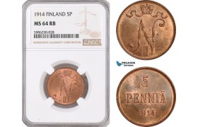 AF672, Finland, Nicholas II. of Russia, 5 Penniä 1914, NGC MS64RB