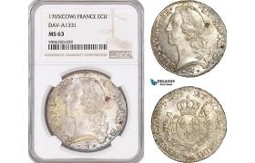 AF673, France, Louis XV, Ecu 1765 (COW) Pau, Silver, Dav-A1331, NGC MS63, Pop 2/0