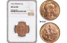 AF678, France, Third Republic, 5 Centimes 1912, NGC MS66RB, Top Pop!