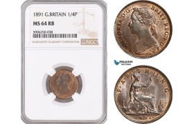 AF682, Great Britain, Victoria, Farthing (1/4p) 1891, London, NGC MS64RB