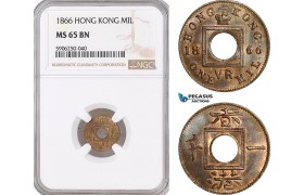 AF683, Hong Kong, Victoria,  Mil 1866, NGC MS65BN