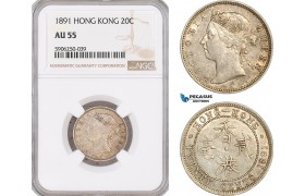 AF684, Hong Kong, Victoria, 20 Cents 1891, London, Silver, NGC AU55