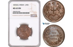 AF687, India (British) 1/4 Anna 1835 (C) Calcutta, NGC MS65BN