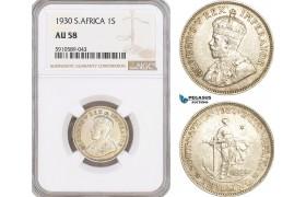 AF804, South Africa (Union) George V,  Shilling 1930, Pretoria, Silver, NGC AU58