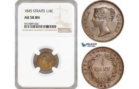 AF805, Straits Settlements, Victoria, 1/4 Cent 1845, NGC AU58BN