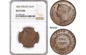 AF806, Straits Settlements, Victoria, 1 Cent 1845, NGC AU55BN