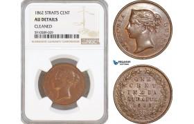 AF807, Straits Settlements, Victoria, 1 Cent 1862, NGC AU Det.