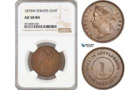 AF808, Straits Settlements, Victoria, 1 Cent 1875-W, NGC AU58BN