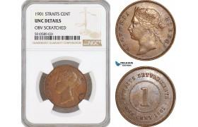 AF809, Straits Settlements, Victoria, 1 Cent 1901, NGC UNC Det.