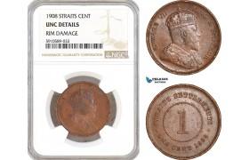AF811, Straits Settlements, Edward VII, 1 Cent 1908, NGC UNC Det.