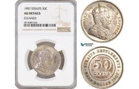 AF813, Straits Settlements, Edward VII, 50 Cents 1907, Silver,  NGC AU Det.