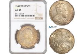AF814, Straits Settlements, Edward VII, Dollar 1908, Bombay, Silver,  NGC AU58