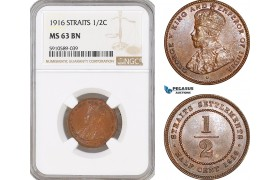 AF815, Straits Settlements, George V, 1/2 Cent 1916,  NGC MS63BN