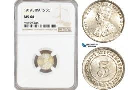 AF816, Straits Settlements, George V, 5 Cent 1919, Silver,  NGC MS64