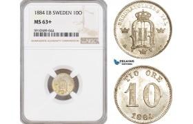 AF817, Sweden, Oscar II, 10 Ore 1884, Stockholm, Silver, NGC MS63+