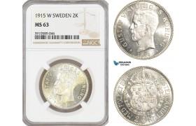 AF818, Sweden, Gustaf V, 2 Kronor 1915, Stockholm, Silver, NGC MS63