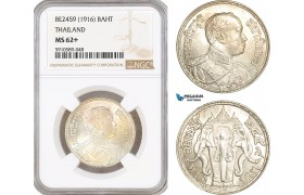 AF819, Thailand, Rama VI, Baht BE2459 (1916) Silver, NGC MS62+