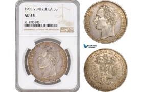 AF823, Venezuela, 5 Bolivares 1905, Paris, Silver, NGC AU55, Rare!
