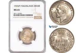 AF826, Yugoslavia, Alexander I, 1 Dinar 1925 (P), NGC MS65, Pop 1/1