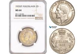 AF827, Yugoslavia, Alexander I, 2 Dinara 1925 (P), NGC MS64