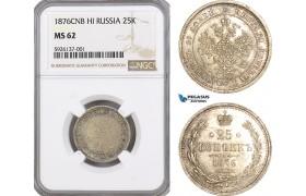 AG301, Russia, Alexander II, 25 Kopeks 1876 СПБ-HI, St. Petersburg, Silver, NGC MS62