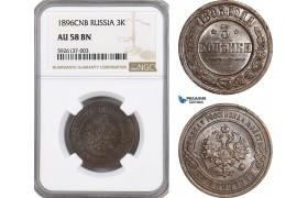 AG304, Russia, Nicholas II, 3 Kopeks 1896 СПБ, St. Petersburg, NGC AU58BN