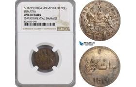 AG309, Netherlands East Indies, Singapore, Sumatra, 1 Keping AH1219 / 1804, NGC UNC Details