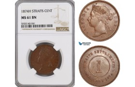 AG316, Straits Settlements, Victoria, 1 Cent 1874-H, Heaton, NGC MS61BN